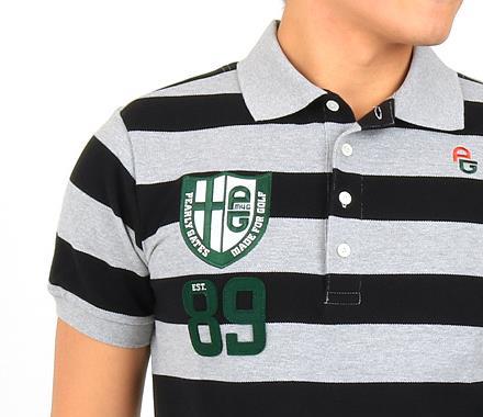 パーリーゲイツ 半袖ポロシャツ・シャツ ゴルフウェアメンズ ラガーボーダー89ワッペンポロ