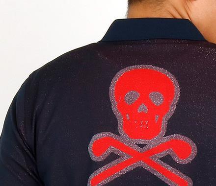 マーク&ロナ 半袖ポロシャツ・シャツ ゴルフウェアメンズ スカルジャガードさらさらポロ